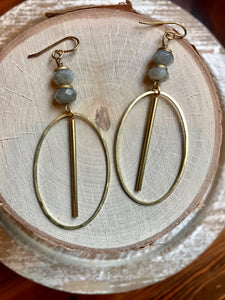 Labradorite Rondelle & Hoop Earrings