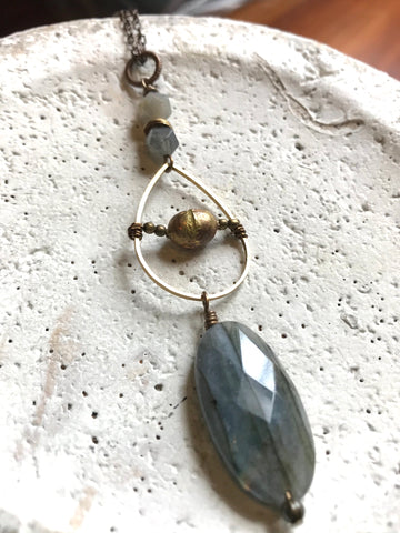 Labradorite Oval, Teardrop & African Bead Necklace