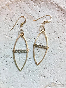 Sterling Twist Ring, Marquis & Ball Bar Earrings