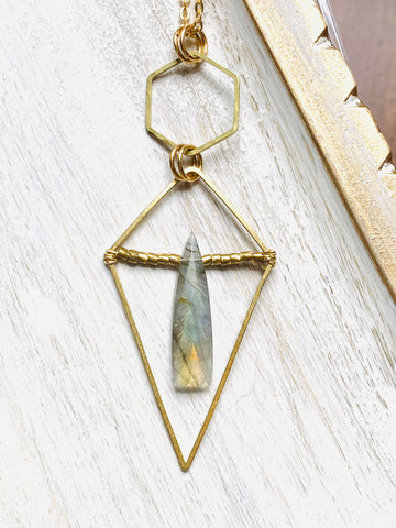 Wavy Hoop, Kite & Labradorite Necklace—NETS118