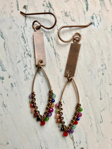 Rectangle and Multi Marquis Earrings