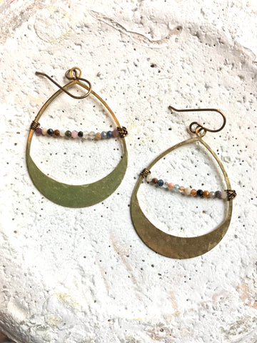 Teardrop & Stones Bar Earrings
