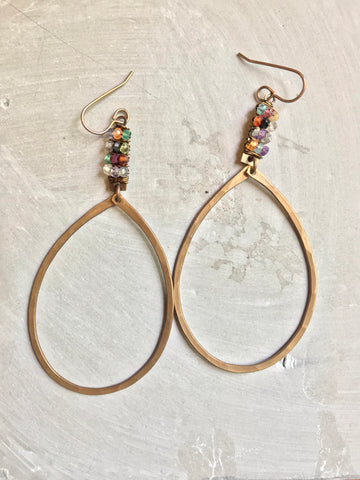 Wrapped Rectangle and Teardrop Earrings