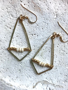 Gold Filled Kite & Stone Earrings