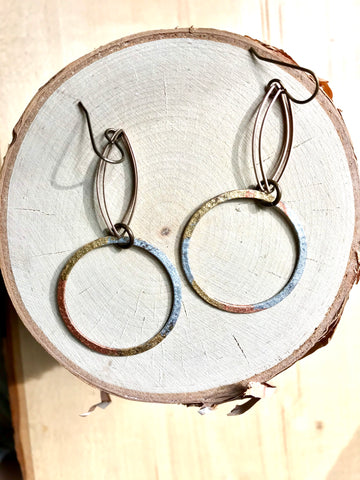 Double Marquis & Foil Hoop Earrings