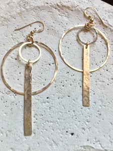Gold Filled Double Hoop & Bar Earrings