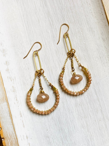Chocolate Moonstone Drop Earrings—ETS131