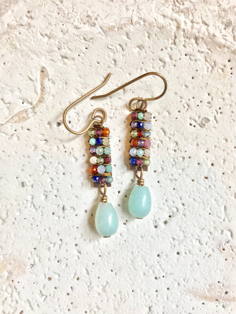 Wrapped Rectangle & Amazonite Teardrop Earrings