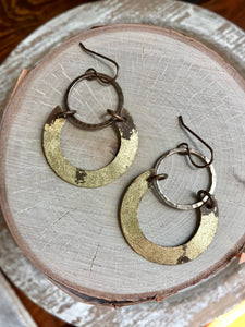 Hoop & Foil Semi Circle Earrings