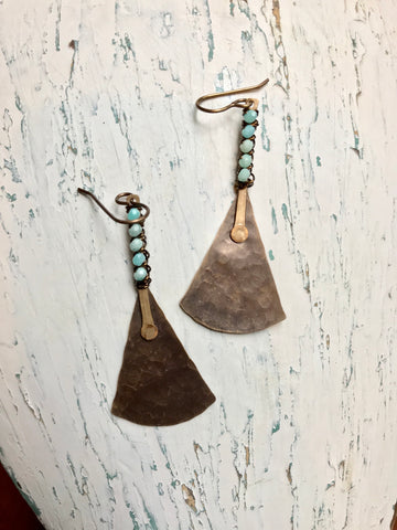 Wrapped Bar & Fan Earrings