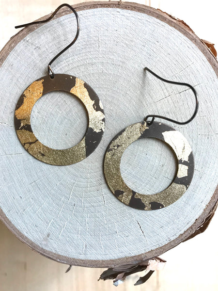Wide Foil Hoop Earrings