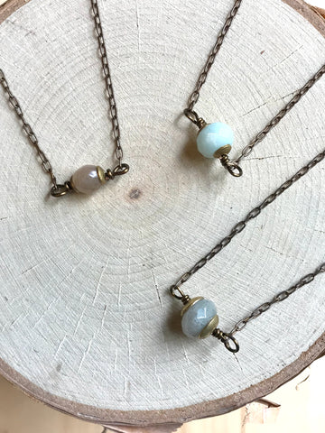 Dainty Stone & African Disk Necklace