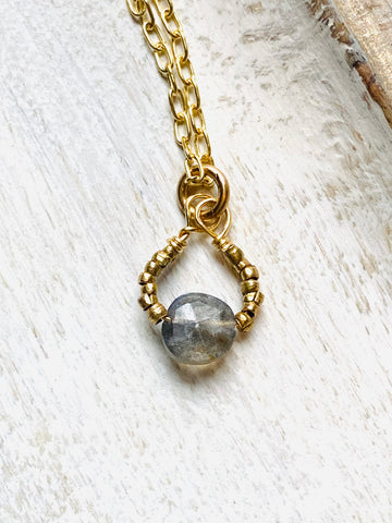 Circle Stone Drop Necklace—NETS109