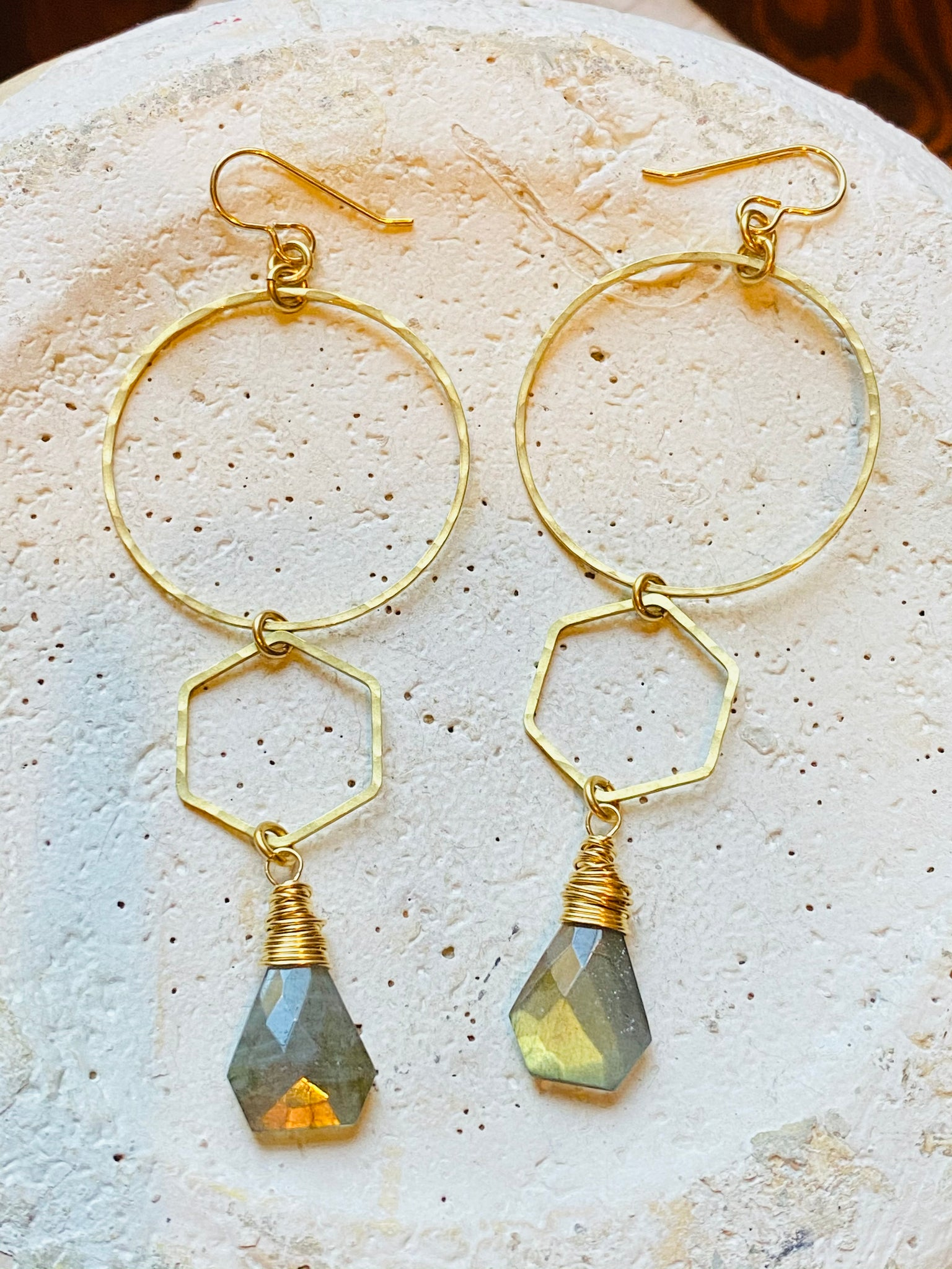 Hoop, Hexagon & Labradorite Earrings—CTB155