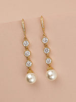 Classic Extra Long Pearl Gold Earrings