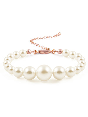 Graduated Pearl Rose Gold Bracelet