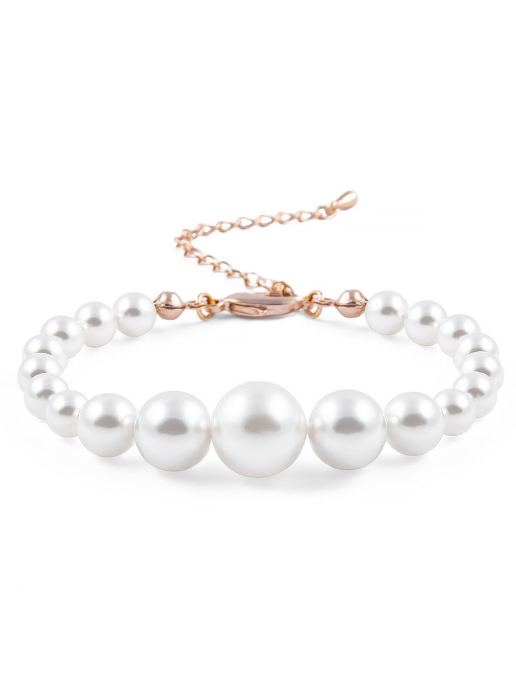 Load image into Gallery viewer, Graduated Pearl Rose Gold Bracelet