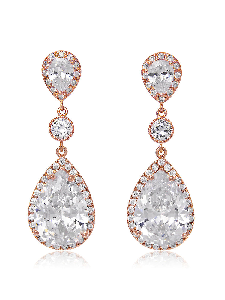 Vesta Classic Rose Gold Earrings | Long
