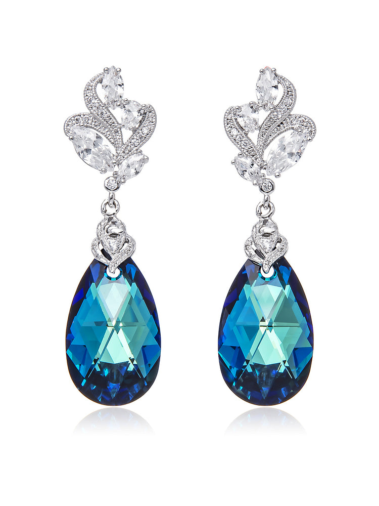 Bermuda Blue Crystal Earrings