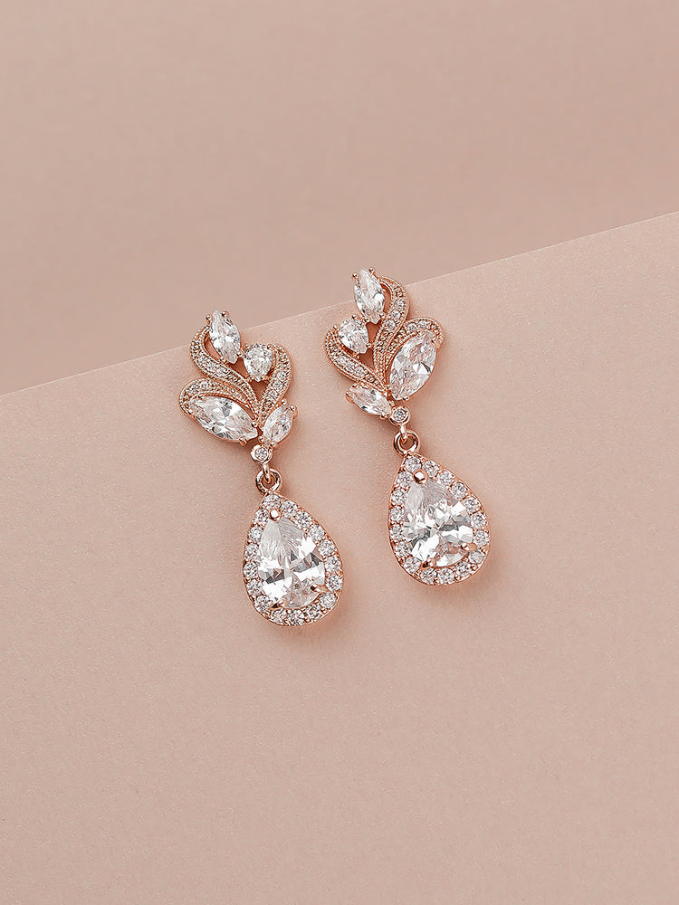 Nessa Rose Gold Earrings | Short