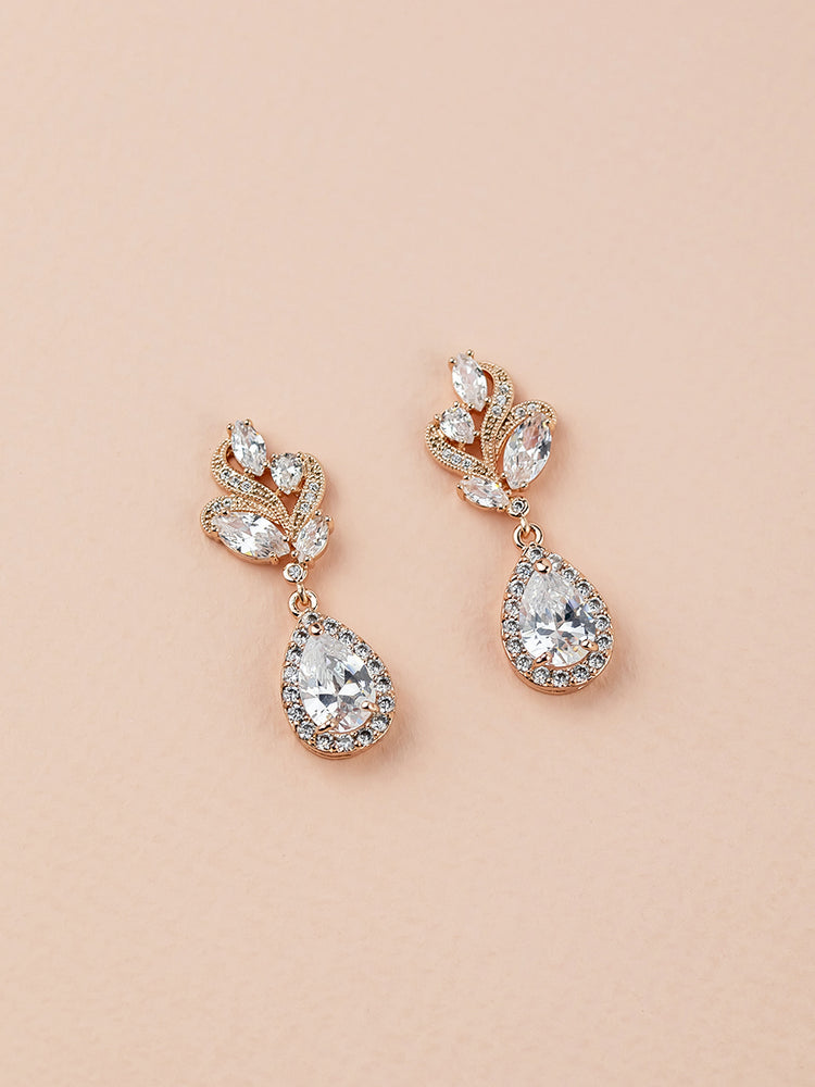 Load image into Gallery viewer, Nessa Rose Gold Earrings (Bridesmaid)