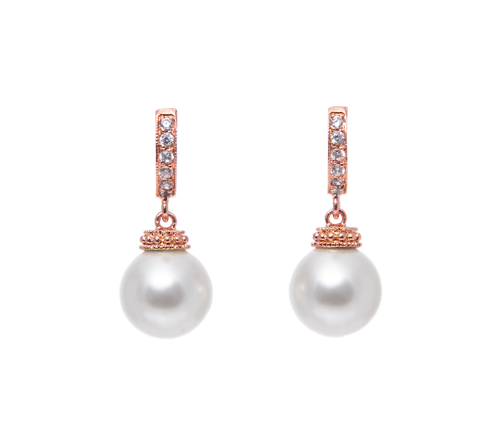 Classic Pearl Rose Gold Drop Hoop Earrings