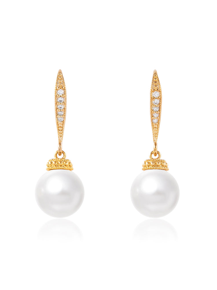 Classic Gold Pearl Earrings