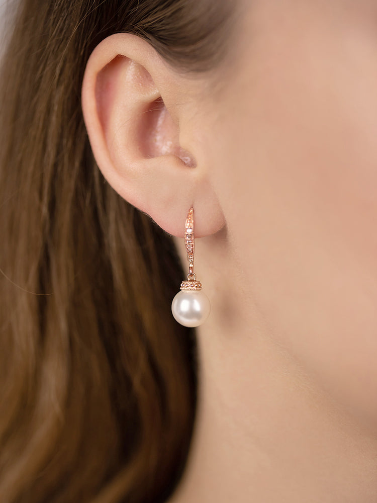 Classic Rose Gold Pearl Earrings