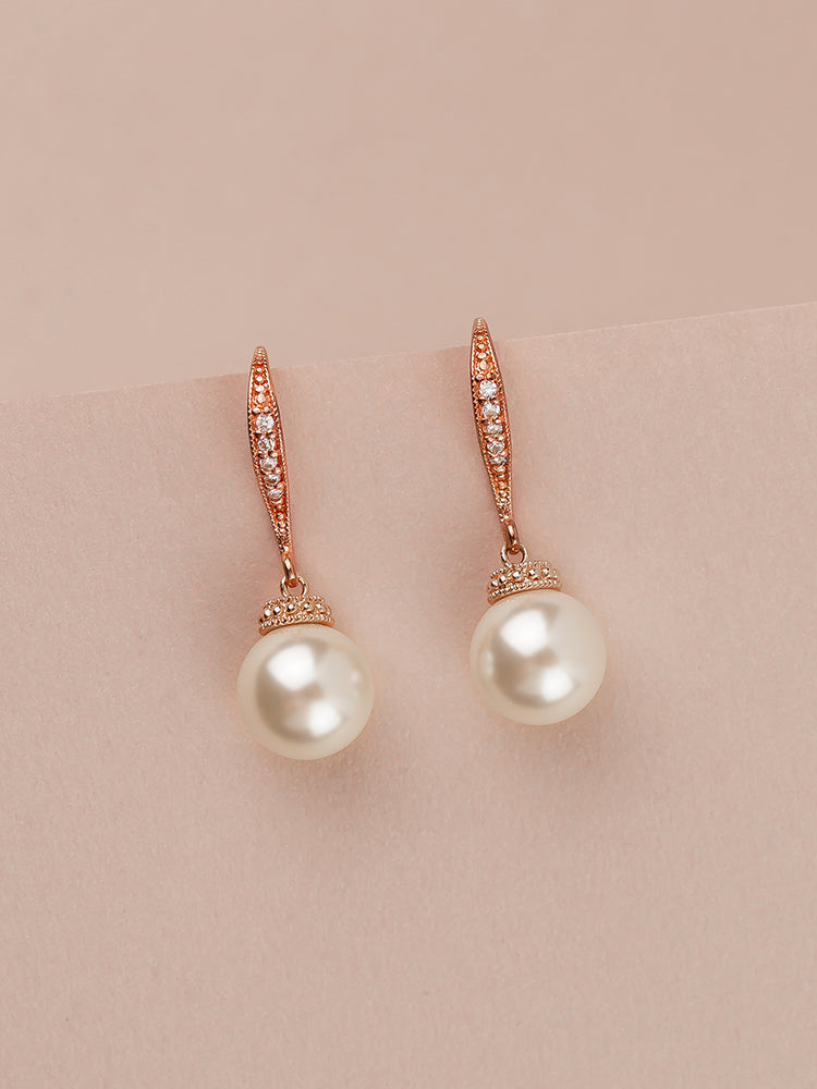 Load image into Gallery viewer, Classic Rose Gold Pearl Earrings (Bridesmaid)