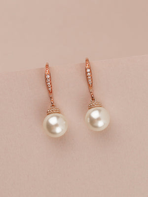 Classic Rose Gold Pearl Earrings (Bridesmaid)