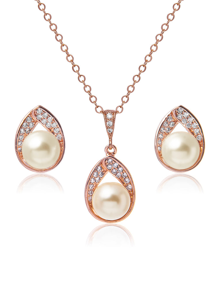 Astra Rose Gold Jewelry Set | Stud