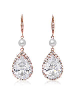 Load image into Gallery viewer, Vesta Pearl Rose Gold Earrings