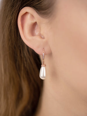 Classic Rose Gold Teardrop Pearl Earrings
