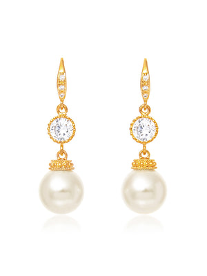 Load image into Gallery viewer, Classic Gold Pearl Earrings | Medium