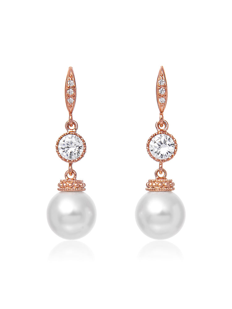 Classic Rose Gold Pearl Earrings | Medium