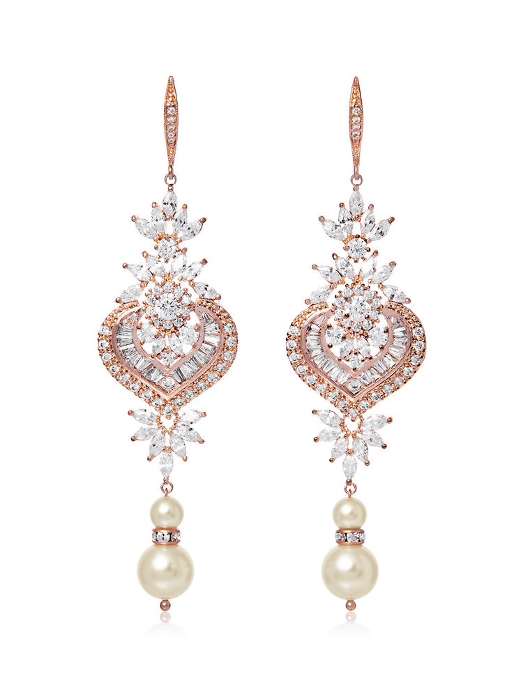 Load image into Gallery viewer, Melinda Pearl Rose Gold Earrings