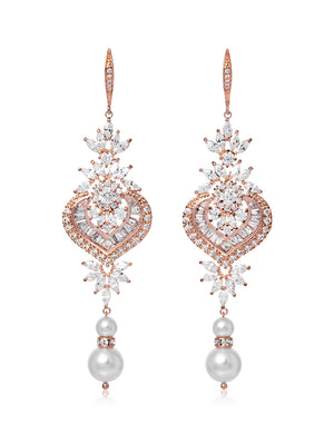 Melinda Pearl Rose Gold Earrings
