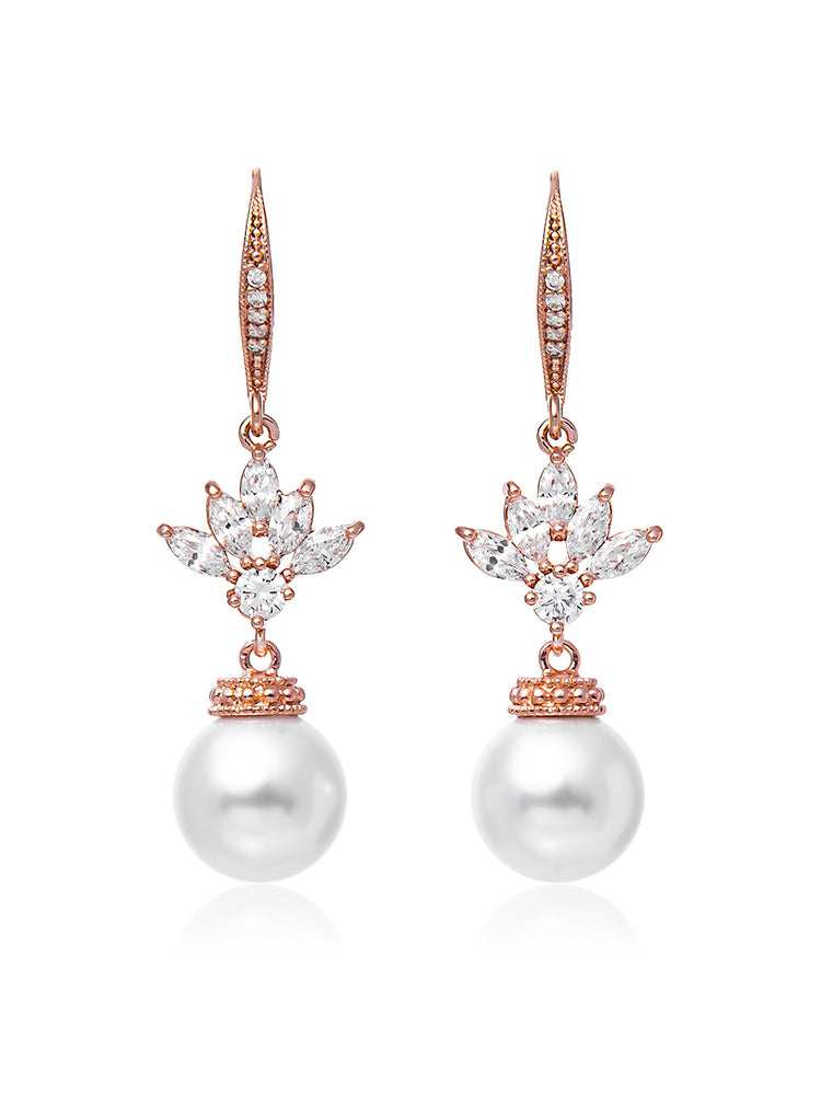 Eliana Pearl Rose Gold Earrings