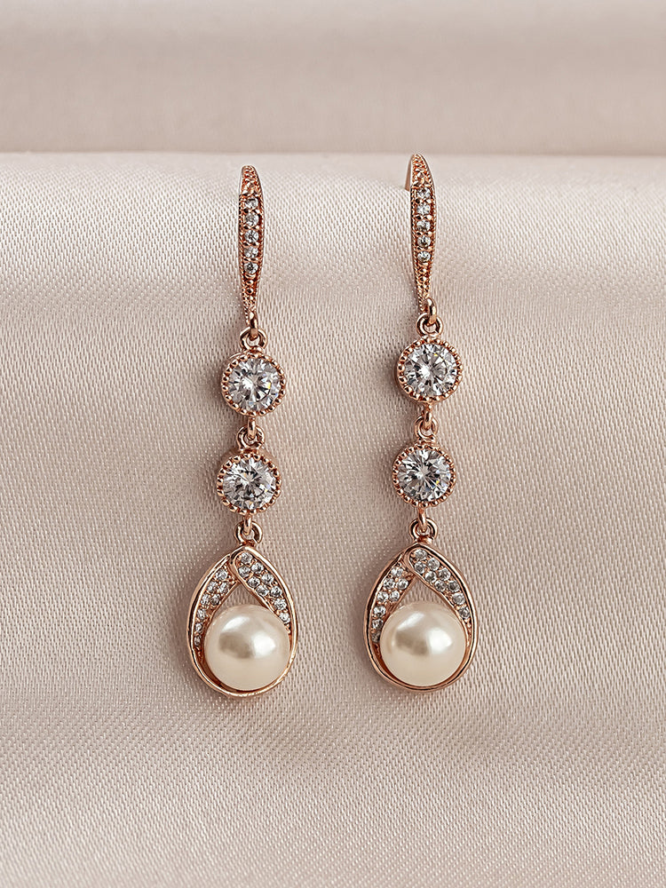 Load image into Gallery viewer, Astra Rose Gold Earrings | Long