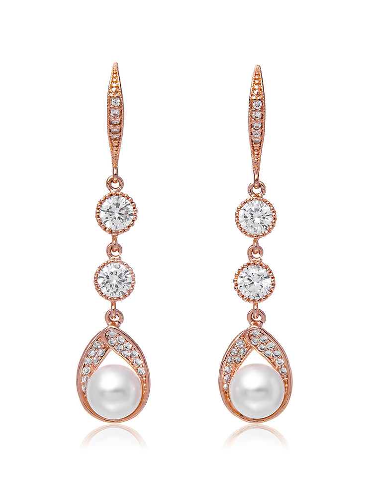 Astra Rose Gold Earrings | Long