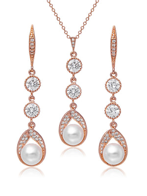 Astra Rose Gold Jewelry Set | Long