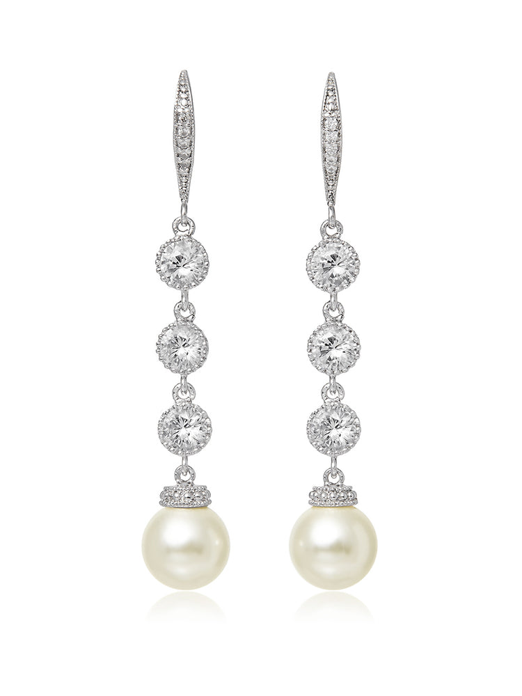 Load image into Gallery viewer, Classic Extra Long Pearl Earrings