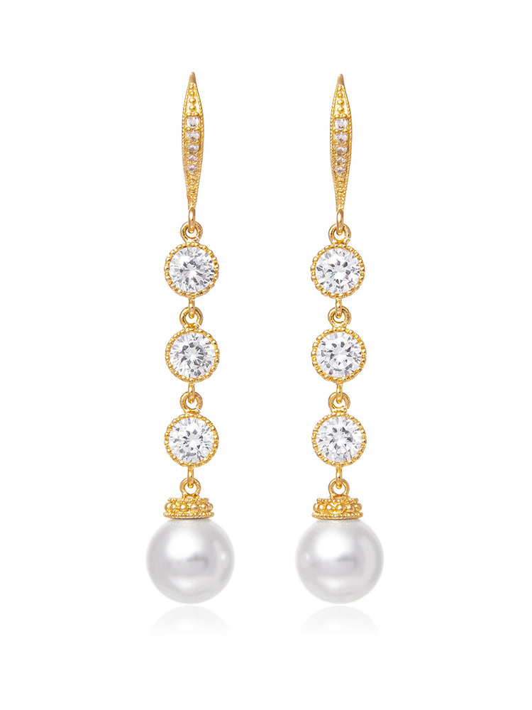 Load image into Gallery viewer, Classic Extra Long Pearl Gold Earrings