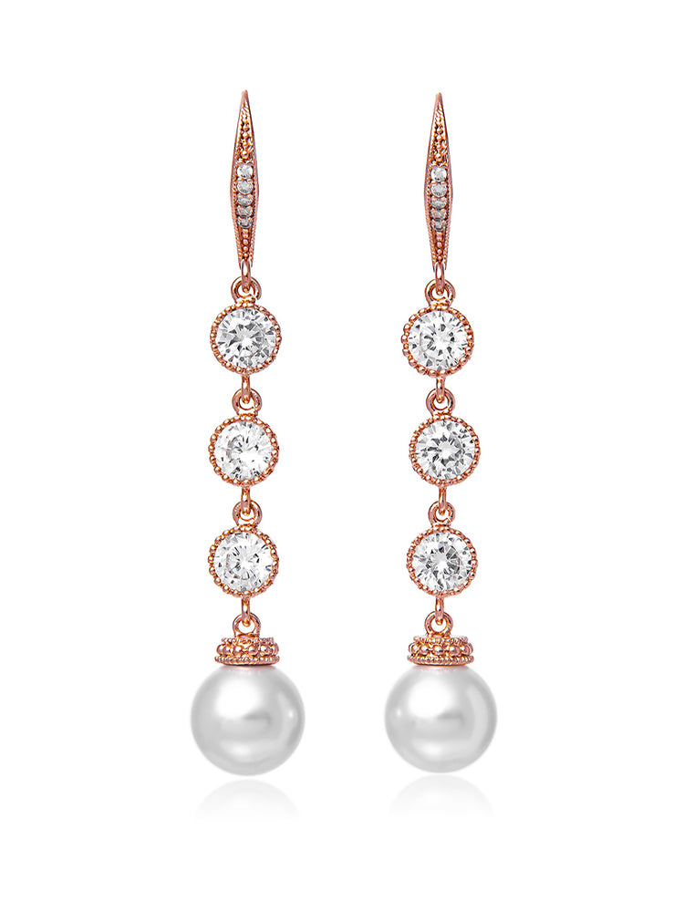Classic Extra Long Pearl Rose Gold Earrings