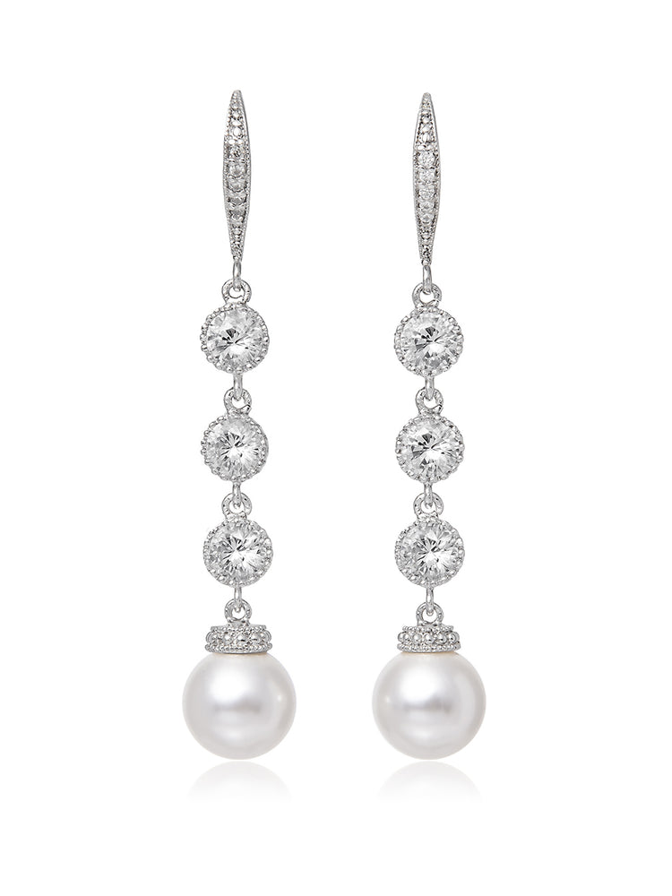 Classic Extra Long Pearl Earrings