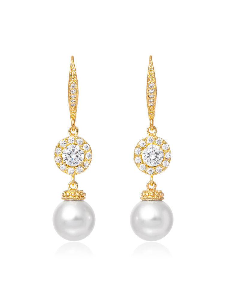 Camille Pearl Gold Earrings