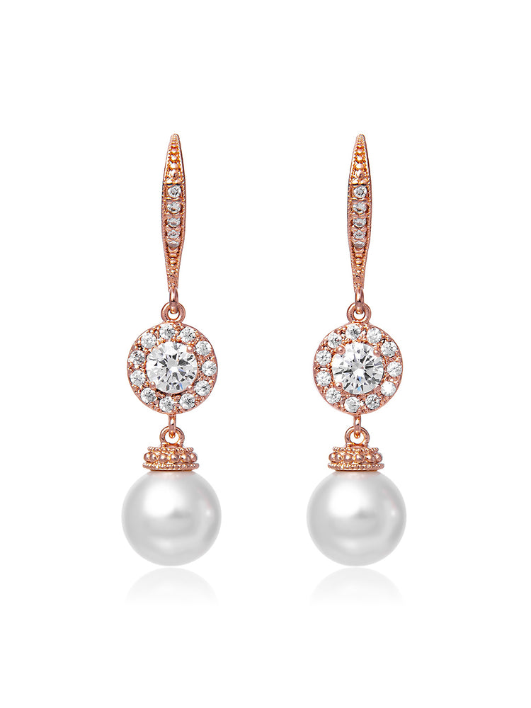 Camille Pearl Rose Gold Earrings