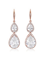 Vesta Double Teardrop Rose Gold Earrings