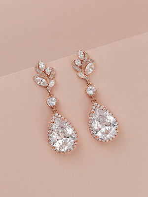 Nessa Rose Gold Earrings | Long