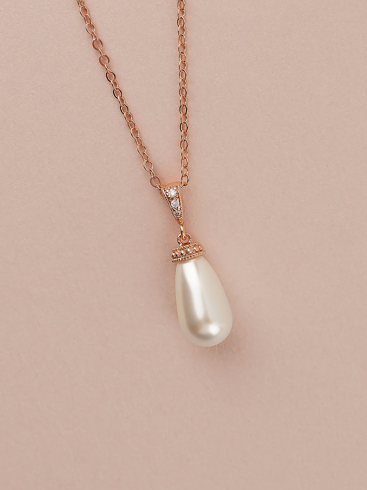 Load image into Gallery viewer, Classic Rose Gold Teardrop Pearl Pendant (Bridesmaid)